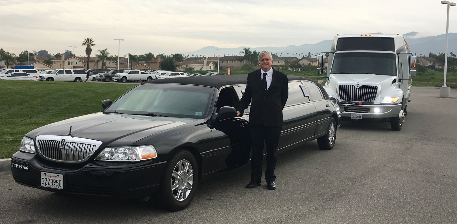 Man with a limousine
